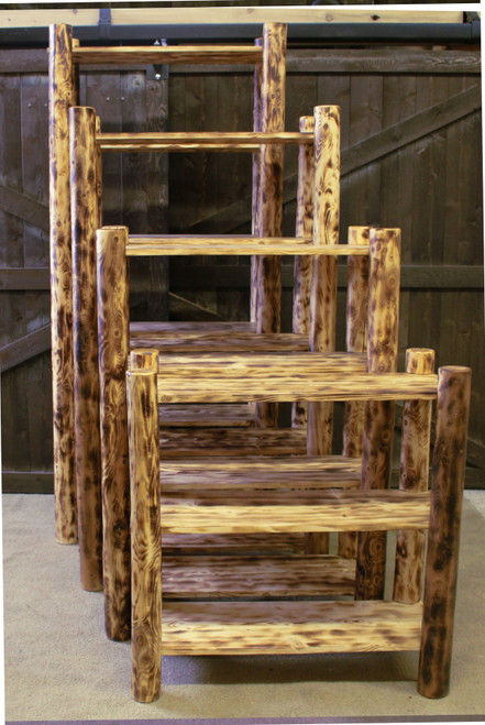 Cedar Log Torched Bookcases