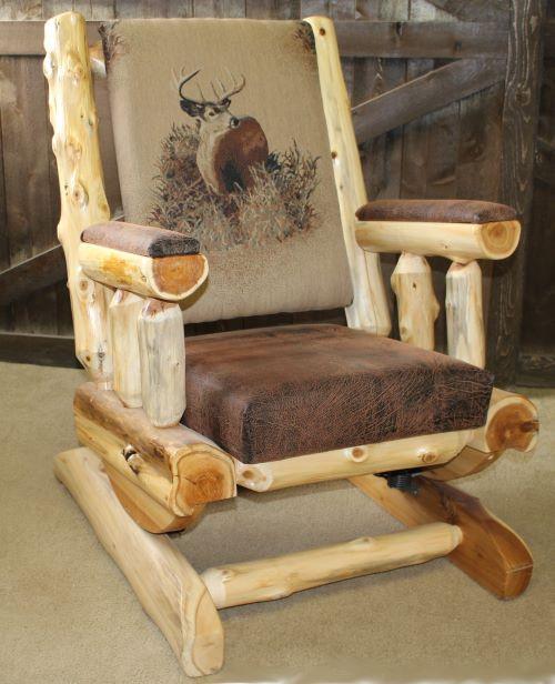 Hand Peeled Cedar Log Rocker with Cushion - CHPCR