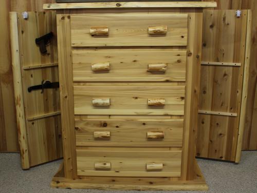 Hidden Lake Concealment Cedar Hand Peeled Log 5 Drawer Chest - HLCLC101