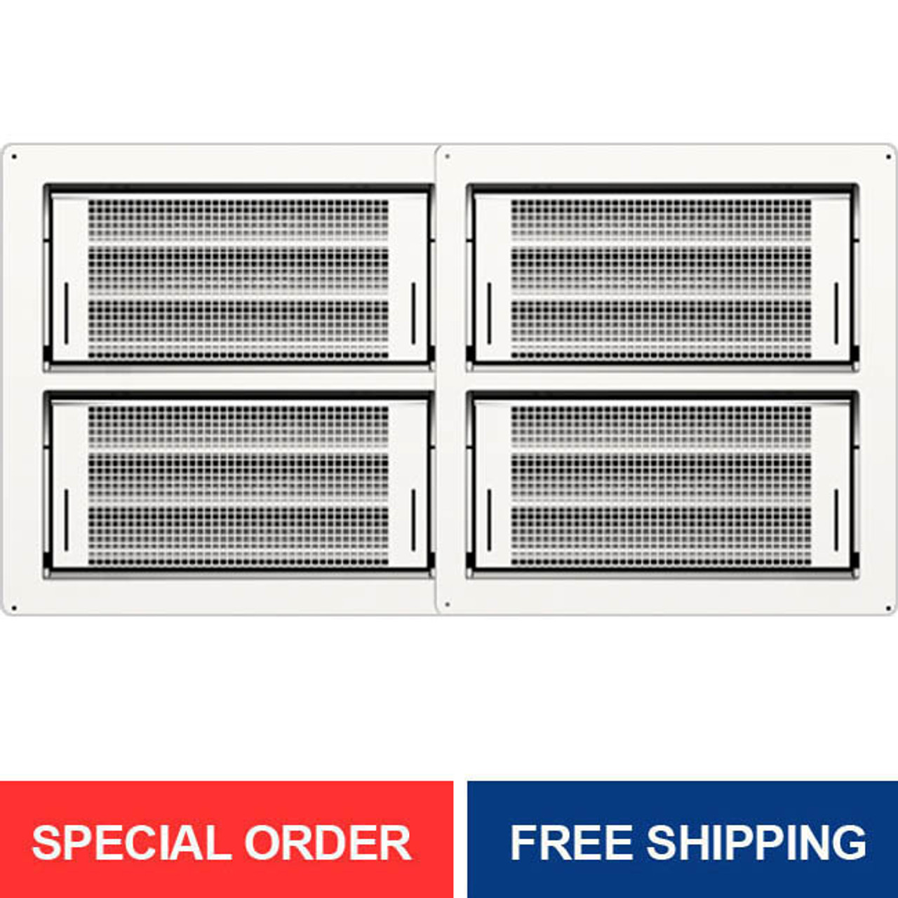 Quad Smart Vent Dual Function Powder Coated White 1540-150202E-1540-0039-WHT Block Wall