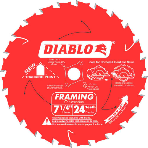Freud Diablo D0724A 7-1/4 in. x 24-Teeth Tracking Point Framing Saw Blade