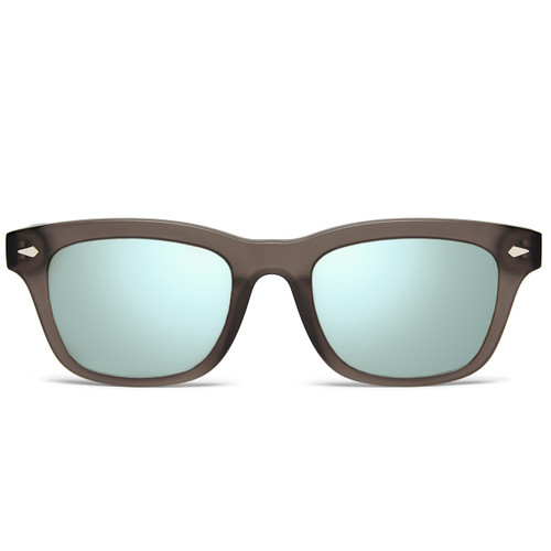 Picture of Tabulae Eyewear LOKI MATTE BLACK Ice Blue Silver with custom sunglass frame and lens