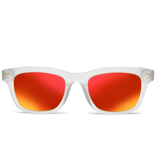 Picture of Tabulae Eyewear LOKI MATTE Clear Red Orange with custom sunglass frame and lens