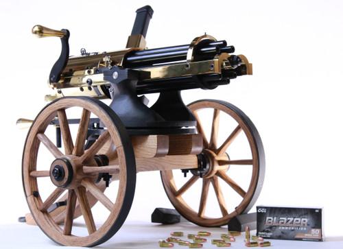 "9 MM ""Golden"" Gatling Gun w/ Oak Carriage"