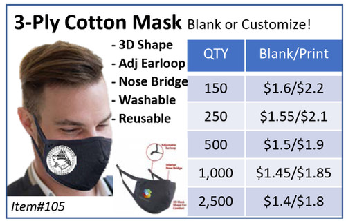 3-Ply Cotton Mask(blank)