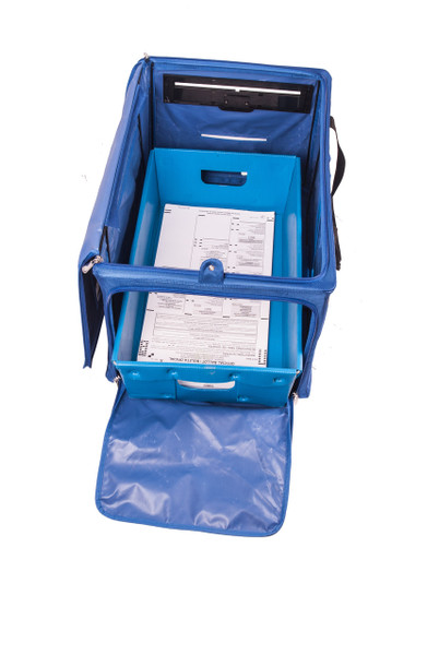 Push the ballot into the box. Box  also accommodates a mail tray to  help you organize the ballots.