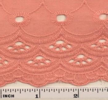 "Eyelet Embroidery Peach 5K004 Width 41/42"""