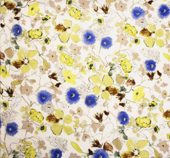 Chiffon Crinkle Flower Print 849 13117 Yellow/Blue