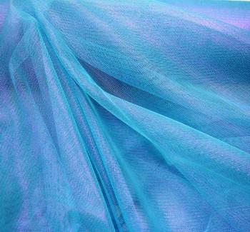 "Mesh w/Foil Aqua/Pink Width 58/60"""