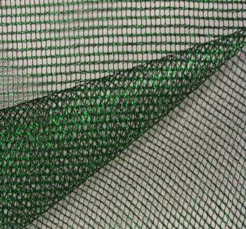"Metallic Poly Mesh W/Foil Green/Blk Width 55/56"""