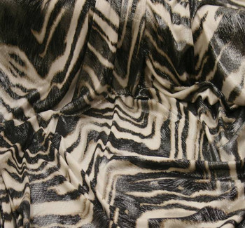 """Poly Spandex 1D363 White/Brown w/Silver Foil Width 58/60"""""""