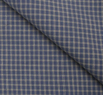 Stretch Cotton Poplin M391 Plaid Blue