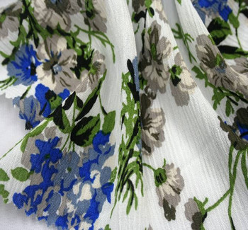 Rayon Crinkle D#1D704 Ivory/Blue