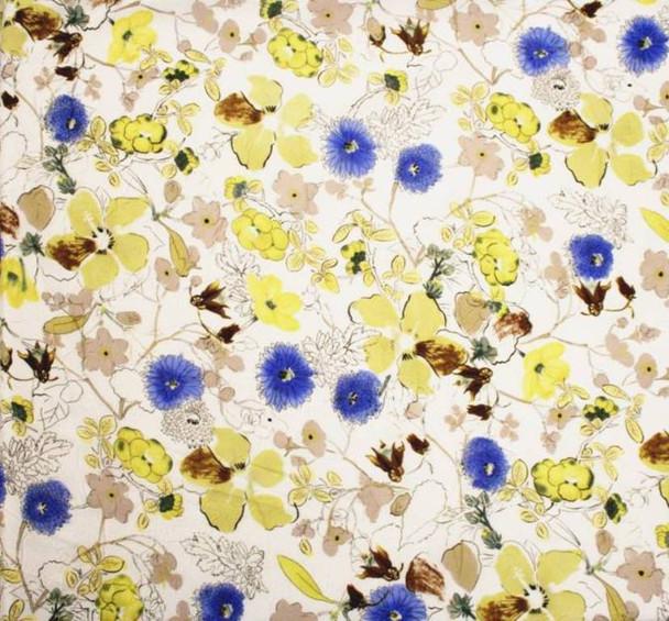 Chiffon Crinkle Flower Print 849 13117 Yellow/Blue