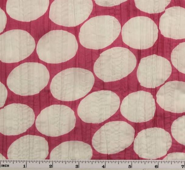 """Crinkled Voile Dot Print Fuschia/White D#1D288 Width 48/50"""""""