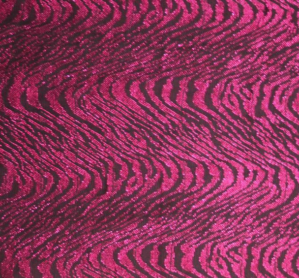 "Metallic Jacquard Swing Knit Black/Fuschia Width 58/60"""