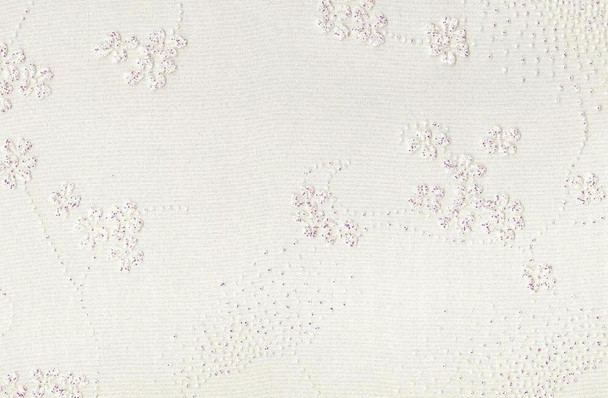 Crystal Organza with Floral Glitter White Ground (PK538)
