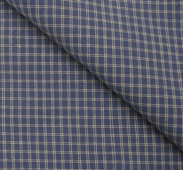 Stretch Cotton Poplin M391 Plaid Blue