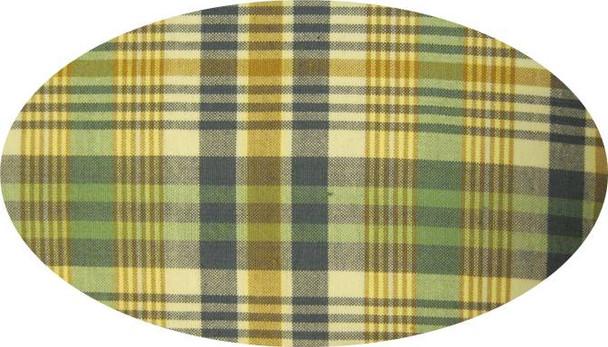 "Cotton Yarn Dyed Flat Green/White/Navy  Width 40/42"""