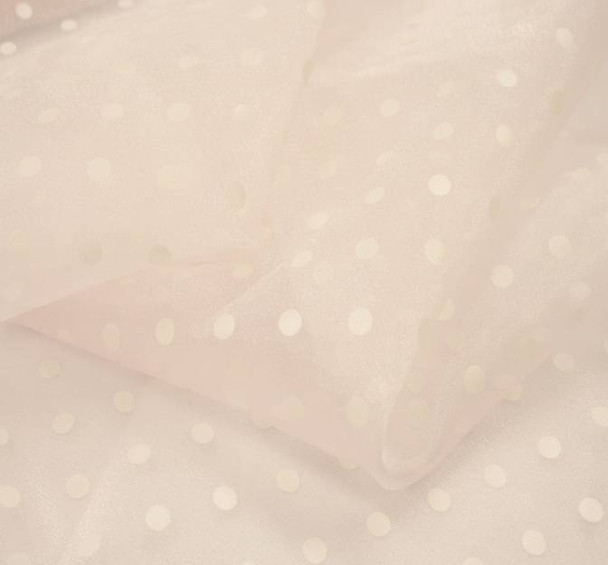 Crystal Organza Pink With White Dots