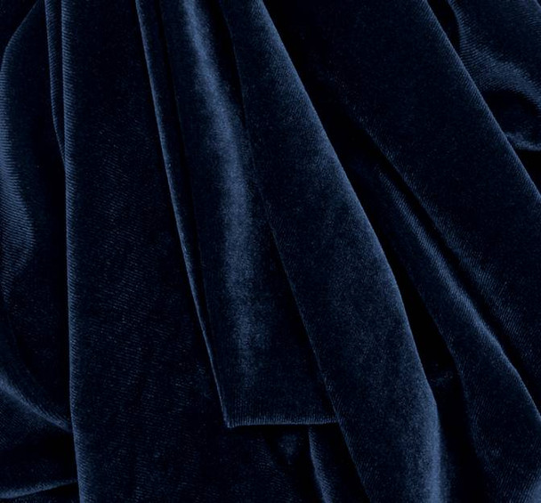 Stretch Velvet Solid Cyber Blue