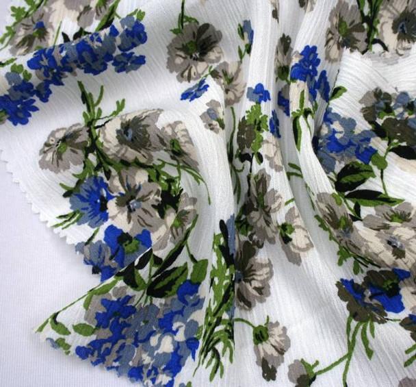 Rayon Crinkle D#1D704 Ivory/Blue