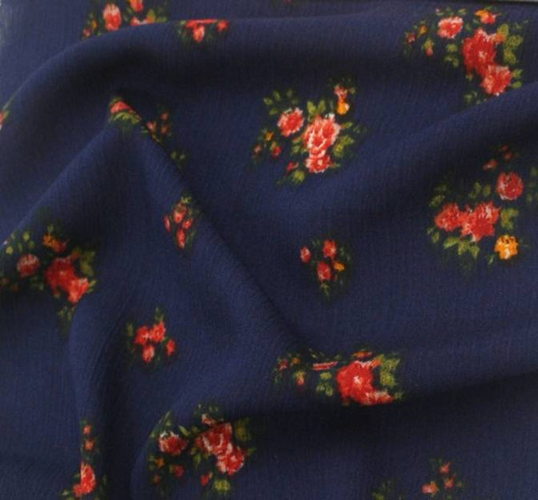 Rayon Crinkle 1D659 Navy Red