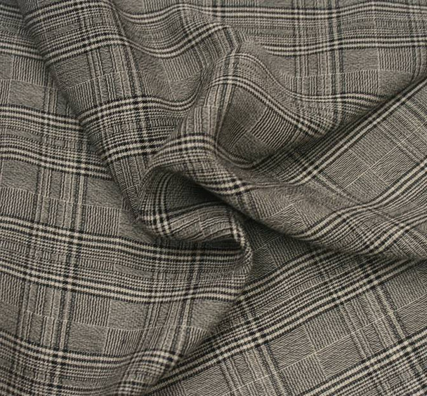 Rayon Yarn Dyed Plaid 1D1017 Taupe Black