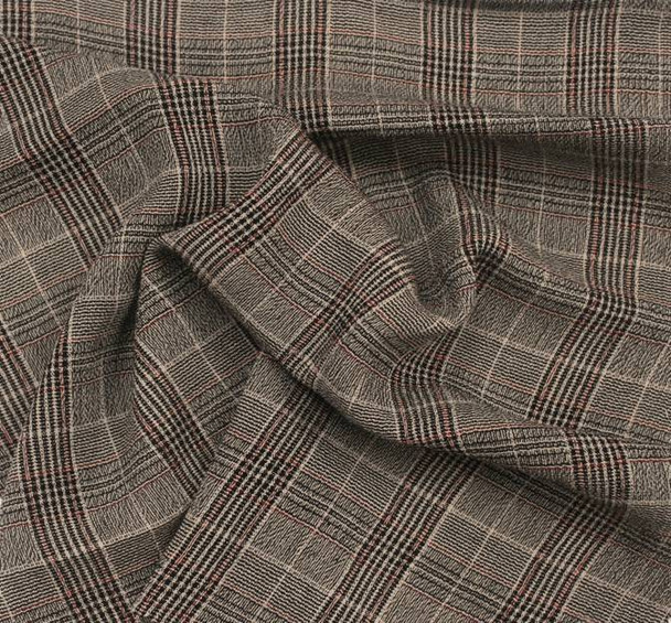 Rayon Yarn Dyed Plaid 1D1016 Taupe Black