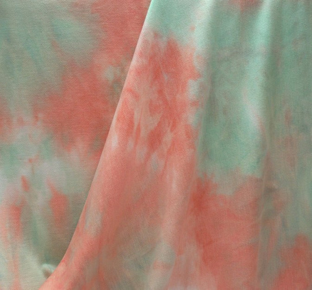 French Terry Tie Dye TD1004 Mint Melon Taupe