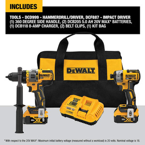 DEWALT FLEXVOLT ADVANTAGE 20V MAX Combo Kit with Hammer Drill & Impact Driver, 5.0-Ah, 2-Tool (DCK2100P2)