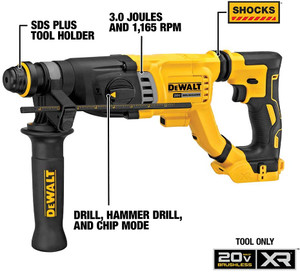 DEWALT20V MAX* 1-1/8 IN. BRUSHLESS CORDLESS SDS PLUS D-HANDLE ROTARY HAMMER (TOOL ONLY)
