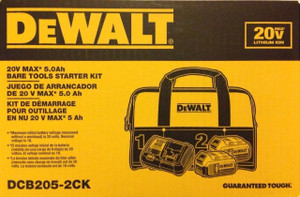 DeWalt dcb205 x 2 20-Volt 5.0Ah Battery dcb115 Charger Bag DCB205-2CK 20v new