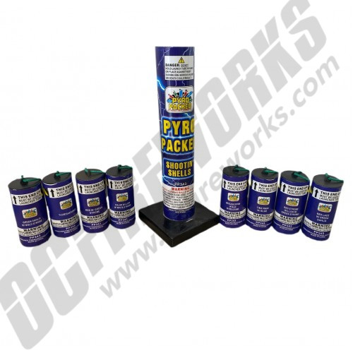 4 Inch Pyro Packed Canister Shootin' Shells 8pk