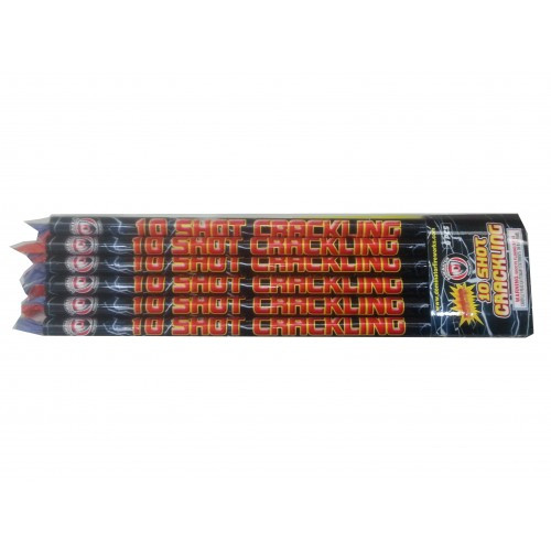 10 Ball Crackling Roman Candle 6pk
