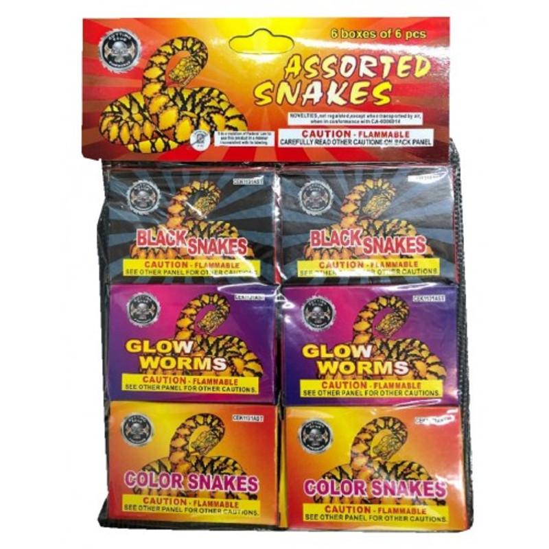 Wholesale Fireworks Assorted Color Snakes Poly Bag Case 144/6/6