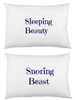 Snoring Beast Sleeping beauty Pair white cotton printed pillowcase set