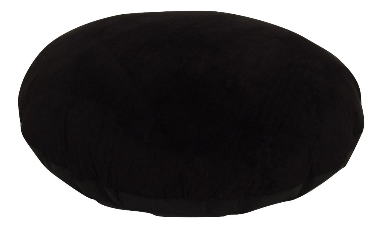 Black Velour Large Round Floor Cushions Zip Off Cover Insert