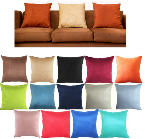 45 x 45 cm Square Suedette Filled Cushion, 2 Piece set Cover+ insert