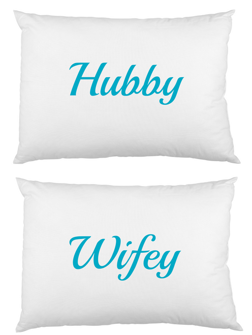 Hubby Wifey white cotton printed pillowcase set