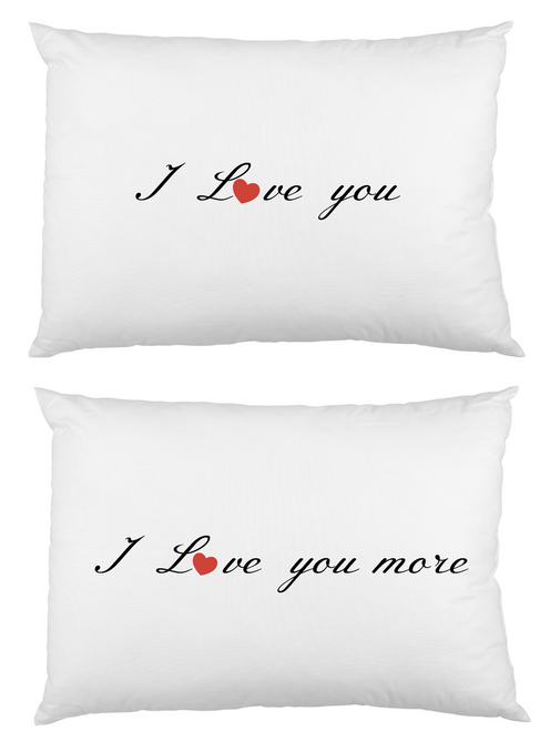 Love you Love you more Pair white cotton printed pillowcase set
