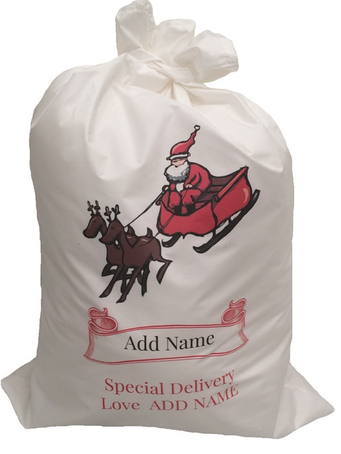 Personalised Santa Sack Cotton Add Name 3 sizes Add Text