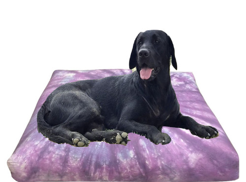 Purple  Dog Bed Or Floor Cushions 90 cm Square Filled Removable Cover