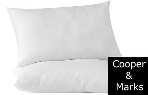 Cooper & Marks Twin Pack  Pack Hotel Quality Standard Size Pillows  Cotton Case Micro Blended Fill