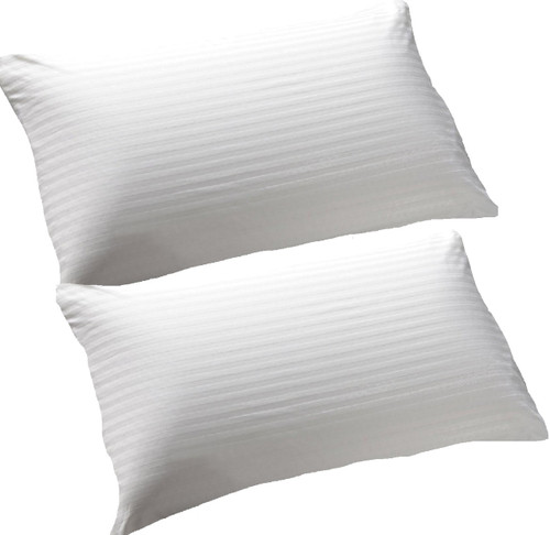 2 Hotel Quality Standard Size Pillows Twin Pack Cotton Case