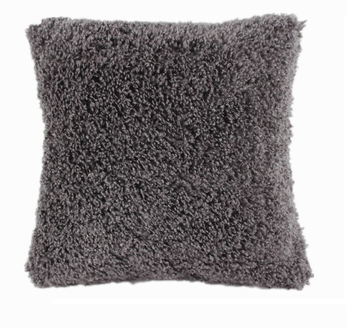 Grey Short Shaggy Super Soft Pile 45cm Cushion Cover + Insert