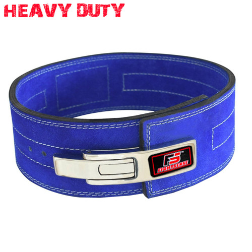 Nubuck Leather Weight Lifting Lever Pro Belt Back Support Gym Training Bodybuilding Blue Color