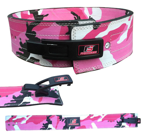 Nubuck Leather Weight Lifting Lever Pro Belt Back Support Gym Training Bodybuilding Camouflage Pink