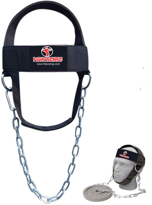 Head Neck Harness Strap Neck Support Dip Weight Lifting With Chain Black