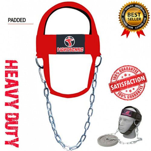 Head Neck Harness Strap Neck Support Dip Weight Lifting With Chain Red